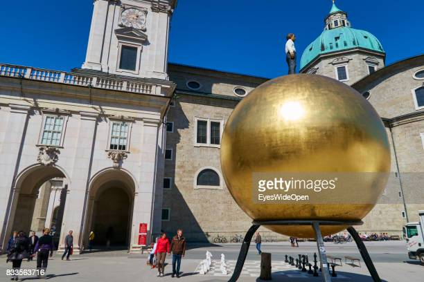 Modern art and the dome of Salzburg Austria