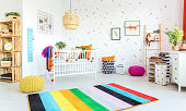 Modern designed baby room with colorful decorations