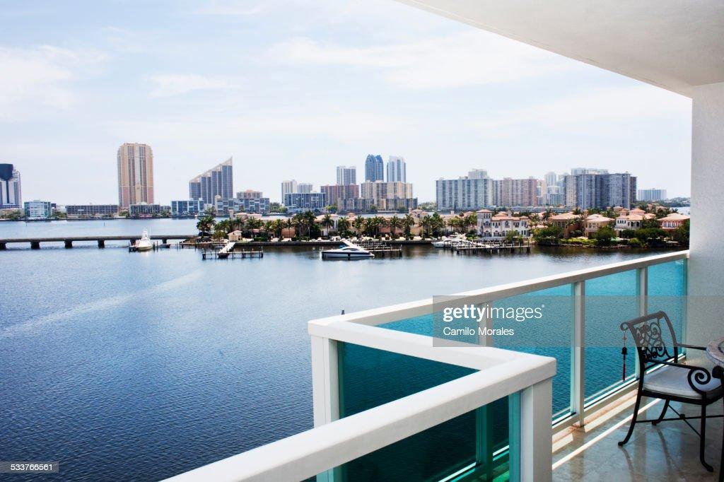 Modern balcony overlooking city skyline, Miami, Florida, United States