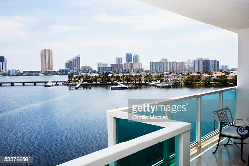 Modern balcony overlooking city skyline, Miami, Florida, United States
