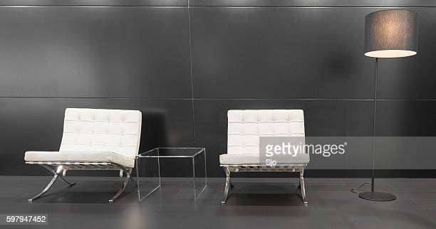 Modern Barcelona design chairs and lamp