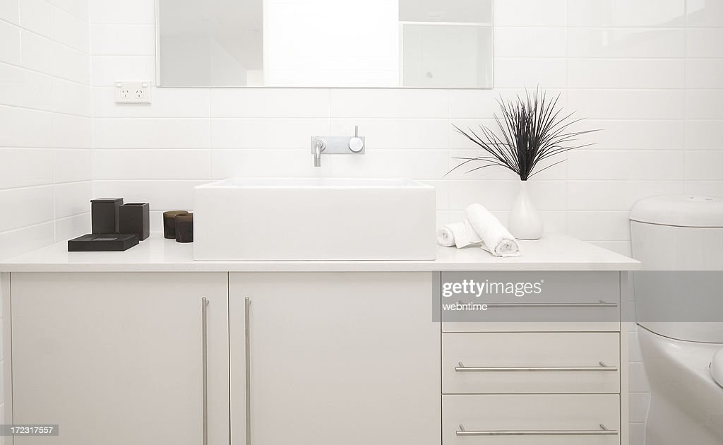 Modern Bathroom Bench Stock Photo   Getty Images