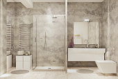 Picture of modern minimalistic bathroom. Render image.
