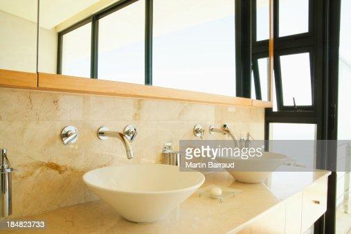 Modern Bathroom Vanity And Sinks Stock Photo