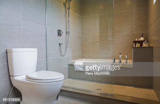 Modern bathroom with bath tub  toilet and glass shower screen   Stock Photo. Modern Bathroom With Bath Tub Toilet And Glass Shower Screen Stock