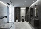 Contemporary bathroom with light gray honeycomb ceramic tiles and dark gray concrete like large tiles. Walls with trendy concrete like light gray large ceramic tiles. Floor with dominating light gray