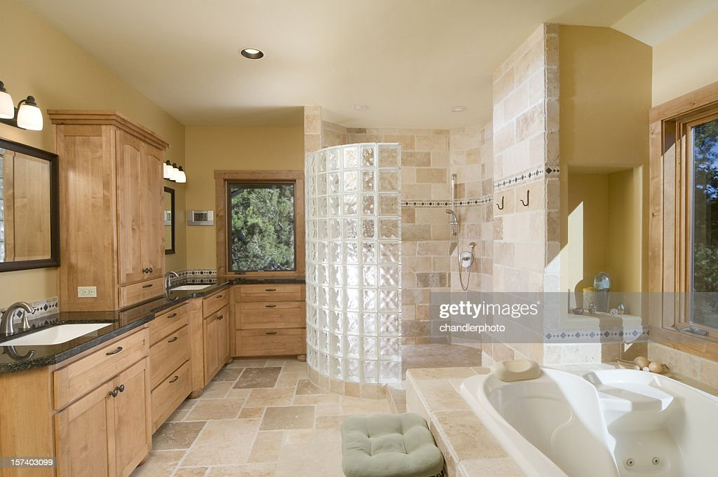 awesome modern bathroom with large open shower jet tub stock photo with open shower