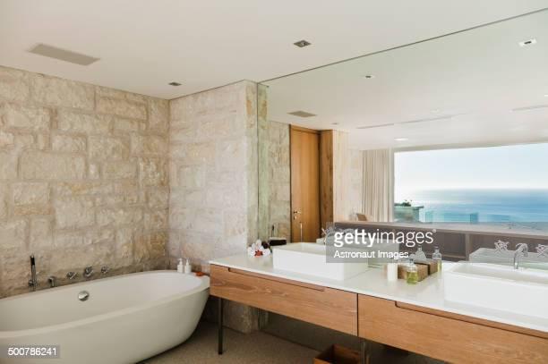 Modern bathroom with ocean view
