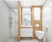 3D render of an modern lux apartament's bathroom with shower
