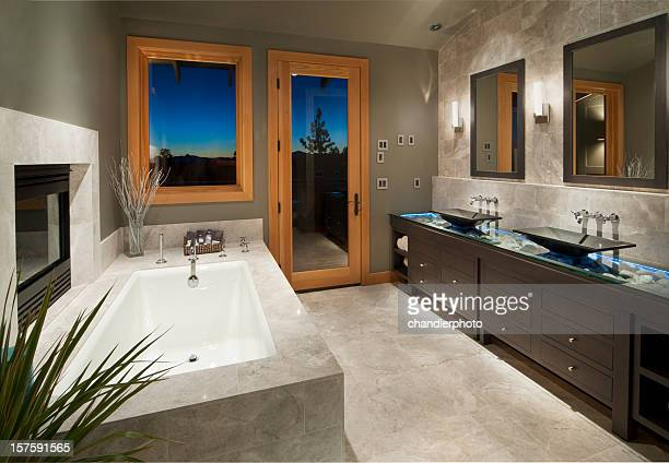 Modern bathroom with sunken bathtub