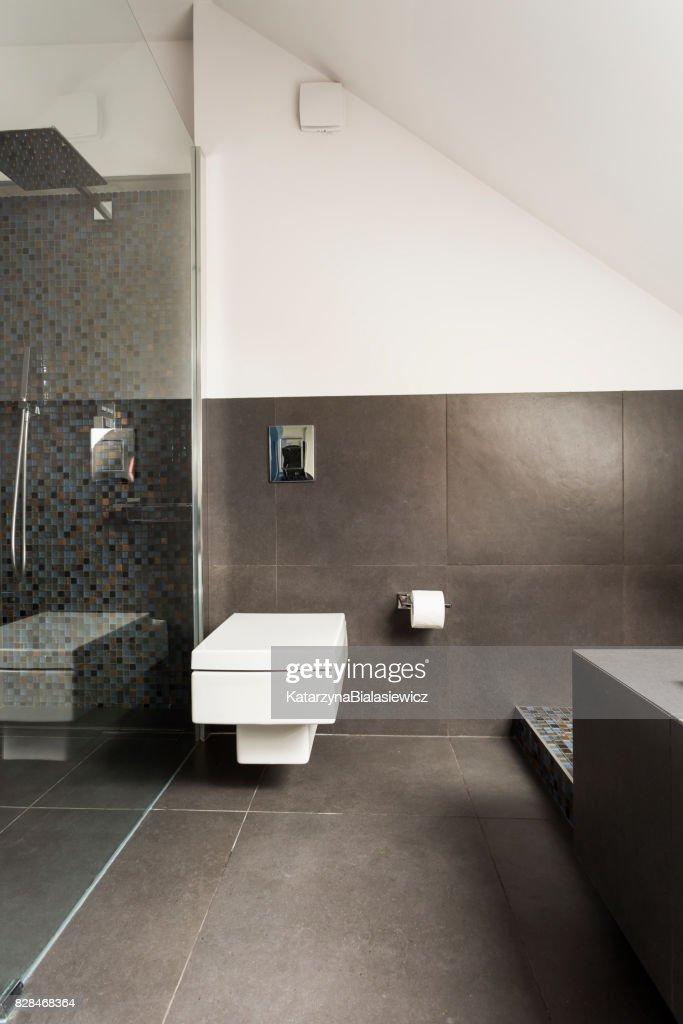 Salle De Bains Moderne Avec Douche Transparent : Photo