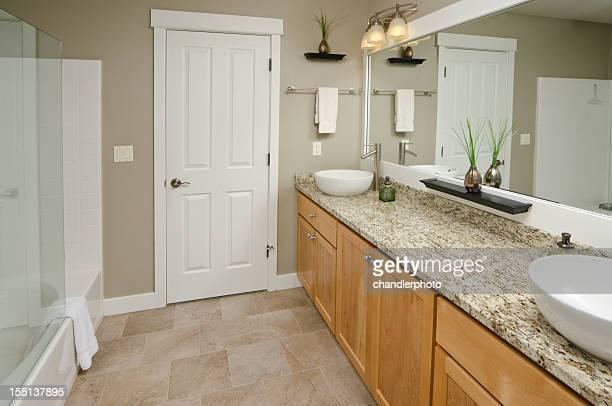 Modern bathroom with vanity mirror
