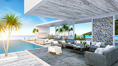 A Modern Beach House,  private swimming pool ,panoramic sky and sea view , 3d rendering