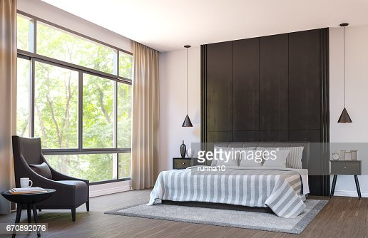 Modern bedroom decorate with  brown leather furniture and black wood 3d rendering image : Stock Photo