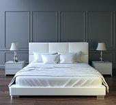 modern bedroom design, white furniture, gray wall, dark wooden floor