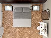 Modern bedroom minimal style, overhead view