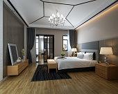 A modern interior design (bedroom).