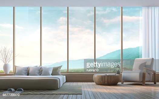 Modern bedroom with mountain view 3d rendering Image : Stock Photo