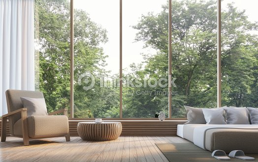 . Modern Bedroom With Nature View 3d Rendering Image Stock Photo