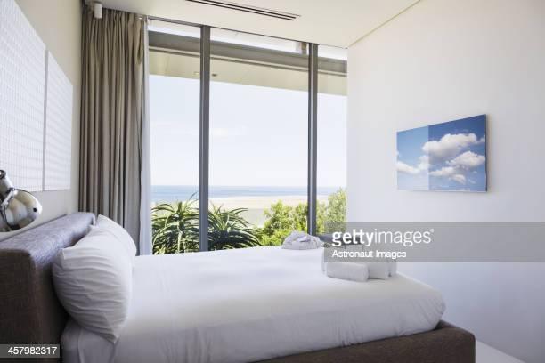 Modern bedroom with ocean view