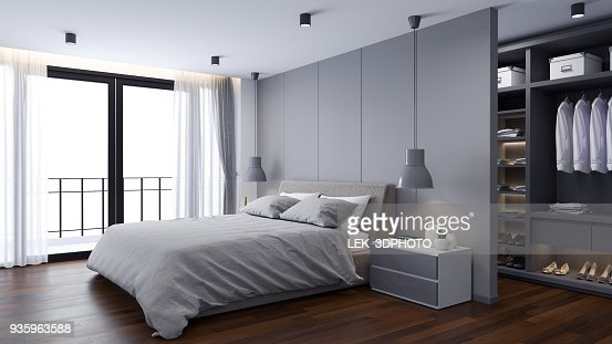 Modern  Bedrooms and  dressing room interior ,Gray room concept ,3d render : Stock Photo