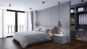 Modern  Bedrooms and  dressing room interior ,Gray room concept ,3d render