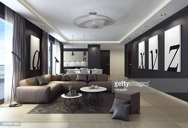 Modern black luxury style apartment with leather sofa