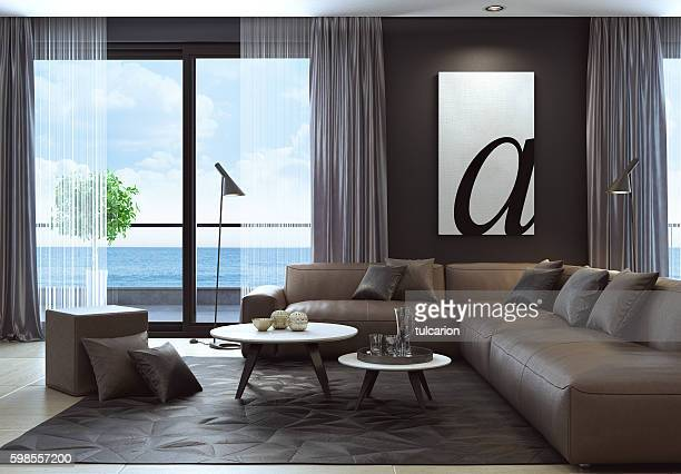 Modern black luxury style living room interior with leather sofa