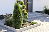 Residential home with modern block paving and front yard