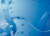 Modern blue christmas background with falling snow flakes