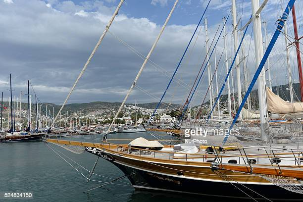Modern boats and yachts in Bodrum harbour Bodrum Turkey on October 22 2015