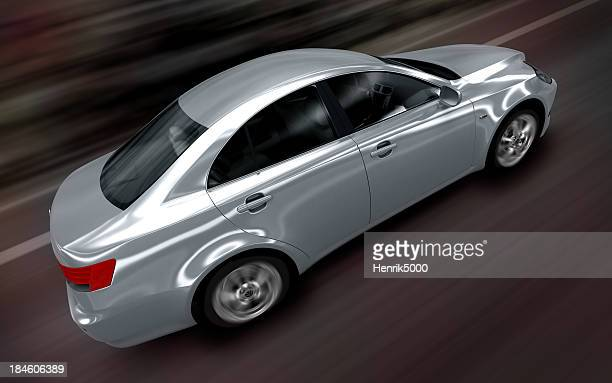 Modern brandless car driving fast