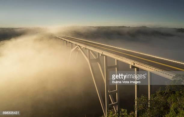 Modern bridge in the mist