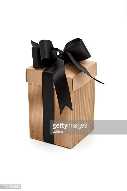 modern brown gift box with black bow