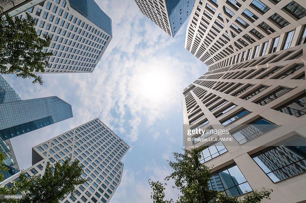 Modern buildings against sun