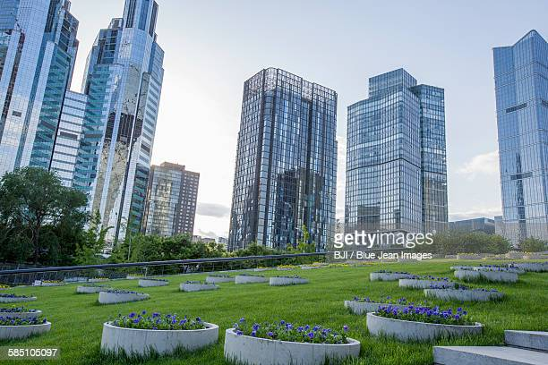 Modern buildings and green area, China