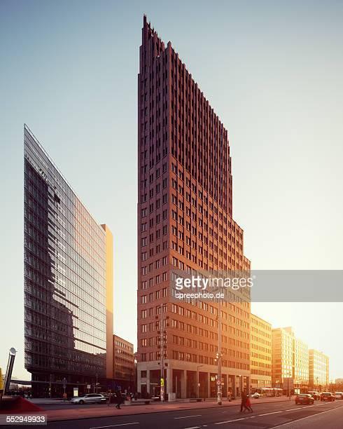 Modern buildings at Potsdamer platz with sunlight