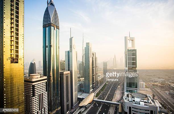 Modern buildings in Dubai s cityscape.