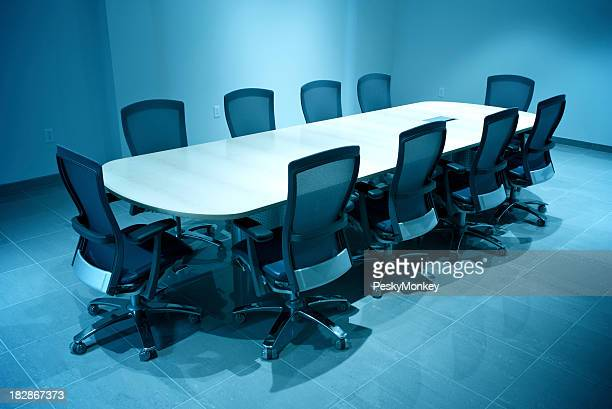 Modern Business Board Room Empty Round Conference Table