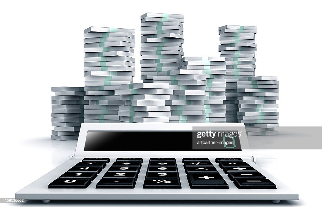 Modern Business calculator and money on white : Stock Photo