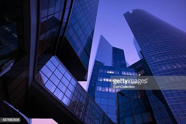 Modern business district at dawn