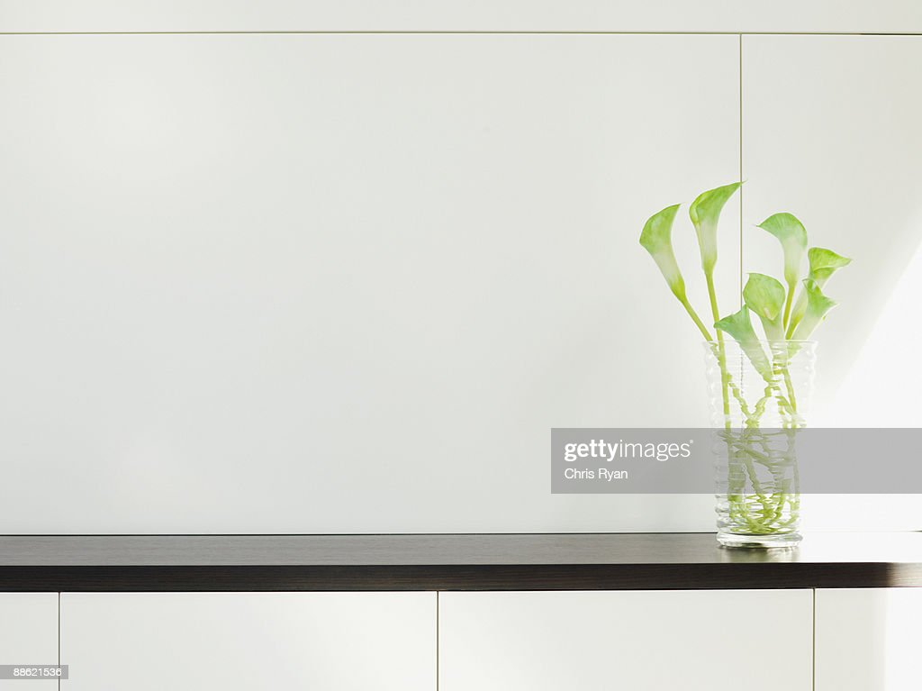 Modern cabinet with flower arrangement : Stock Photo