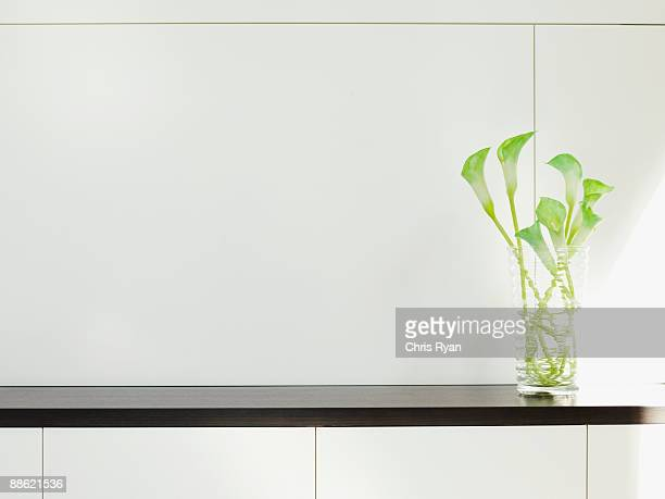 Modern cabinet with flower arrangement