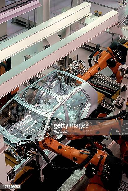 A modern car factory assembly line