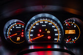 Modern car instrument dashboard panel in night time