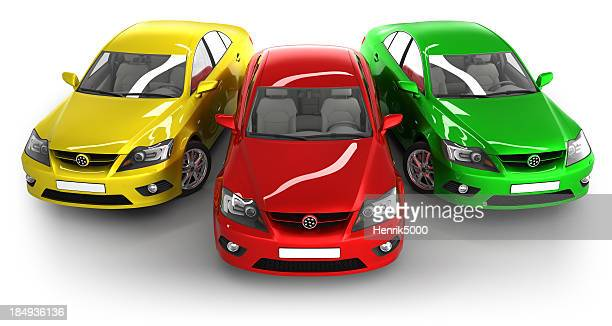 Modern cars in studio - isolated with clipping path