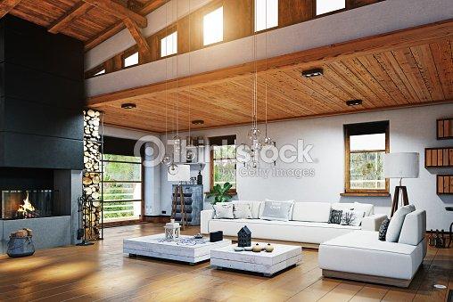 Modernes Chalet Interieur Stock-Foto - Thinkstock