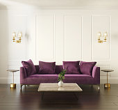 Rendering of a Modern chic classic luxury white European interior with violet velvet sofa