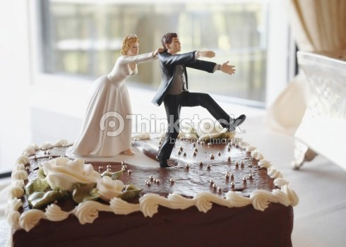 Modern Chocolate Wedding Cake With Unique Topper Stock Photo