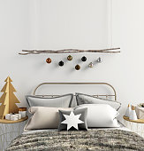 Modern Christmas interior of bedroom, Scandinavian style. 3D illustration. poster mock up
